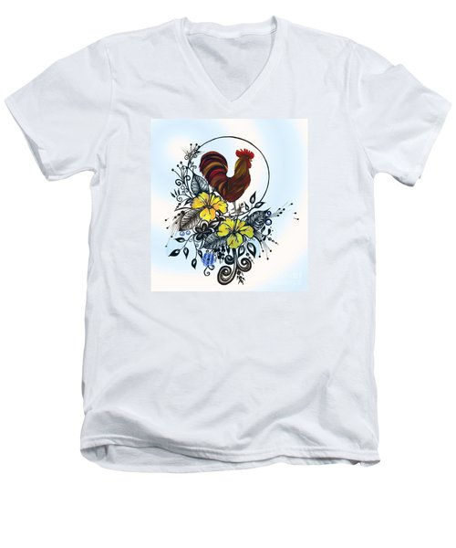 Pen And Ink Drawing Rooster Art Watercolor And Digital Art Men's V-Neck T-Shirt by Saribelle Rodriguez