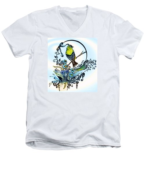 Pen And Ink Art, Colorful Goldfinch, Watercolor And Digital Art, Wall Art, Home Decor Design Men's V-Neck T-Shirt by Saribelle Rodriguez