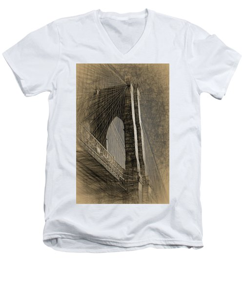 Pencil Sketch Of The Brooklyn Bridge Men's V-Neck T-Shirt