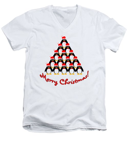 Penguin Christmas Tree Men's V-Neck T-Shirt by Methune Hively