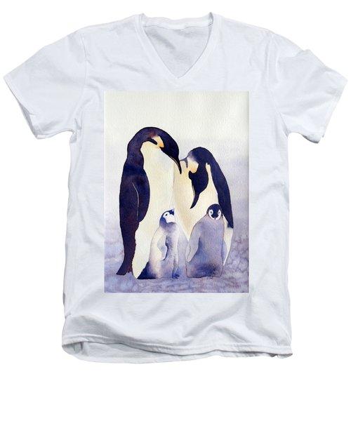 Penguin Family Men's V-Neck T-Shirt by Laurel Best