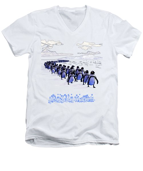 Penguin March Men's V-Neck T-Shirt by Methune Hively