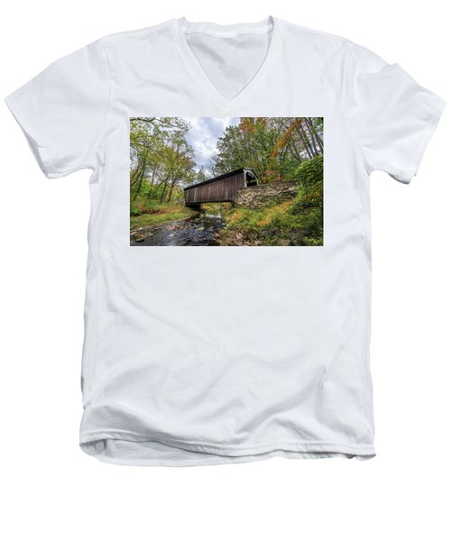 Pennsylvania Covered Bridge In Autumn Men's V-Neck T-Shirt