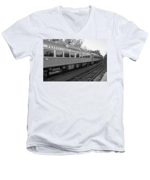 Pennsylvania Reading Seashore Lines Train Men's V-Neck T-Shirt by Terry DeLuco