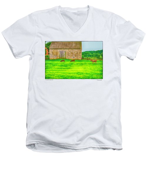Men's V-Neck T-Shirt featuring the photograph Pennsylvania's Oldest Barn by R Thomas Berner