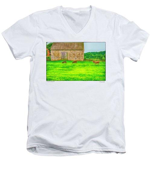 Pennsylvania's Oldest Barn Men's V-Neck T-Shirt by R Thomas Berner