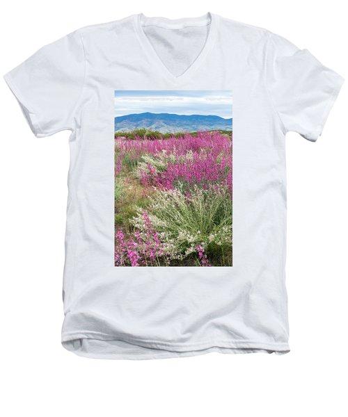 Penstemon At Black Hills Men's V-Neck T-Shirt by Karen Stephenson
