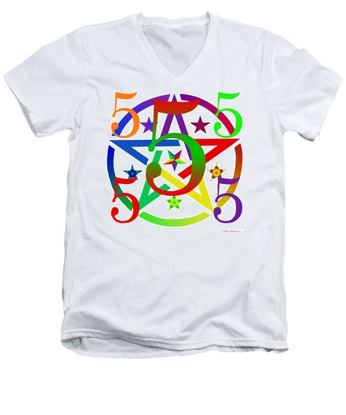 Penta Pentacle White Men's V-Neck T-Shirt by Eric Edelman