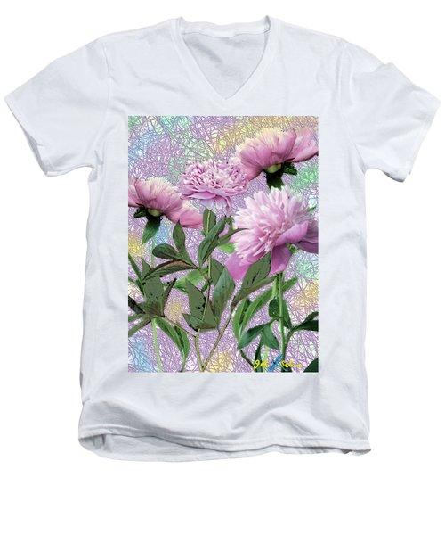 Men's V-Neck T-Shirt featuring the digital art Peonies 6 by John Selmer Sr