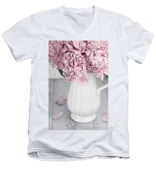 Peonies In A Vase Men's V-Neck T-Shirt