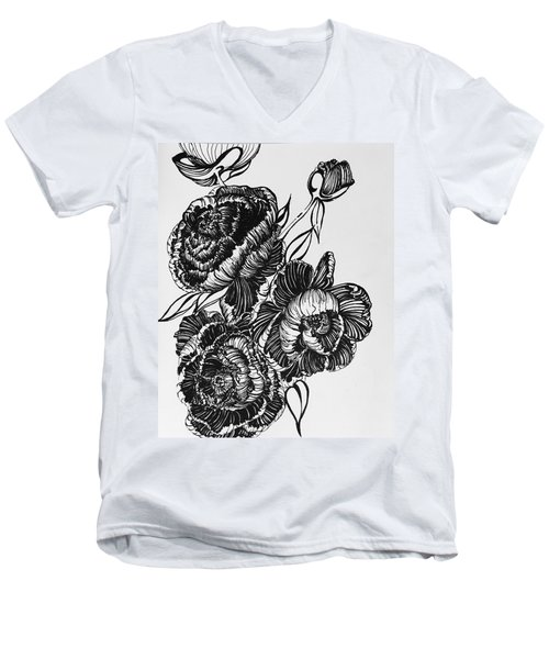 Peonies Line Drawing Men's V-Neck T-Shirt