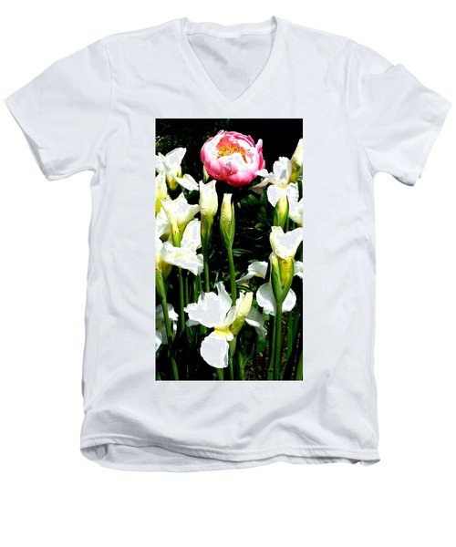 Peony And Iris Men's V-Neck T-Shirt