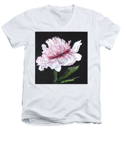 Peony Bloom Men's V-Neck T-Shirt by Betty-Anne McDonald