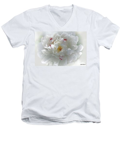 Peony Men's V-Neck T-Shirt by Bonnie Willis