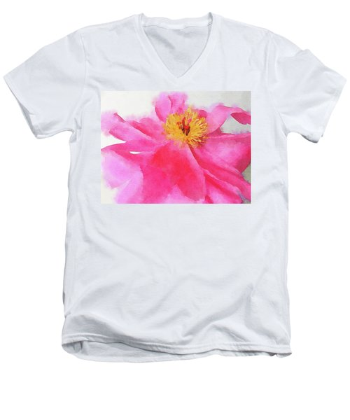 Men's V-Neck T-Shirt featuring the digital art Peony by Mark Greenberg