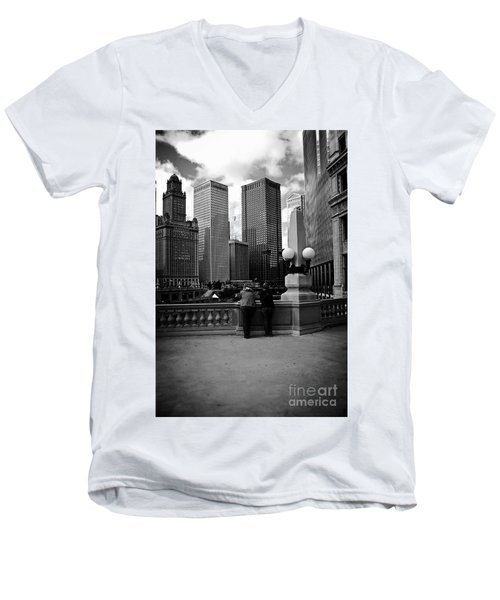 People And Skyscrapers Men's V-Neck T-Shirt