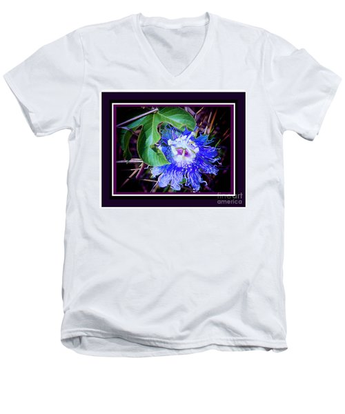 Perfect Purple Flower Hiding Men's V-Neck T-Shirt