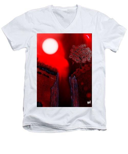 Perigee Moon 2 Men's V-Neck T-Shirt by Yul Olaivar