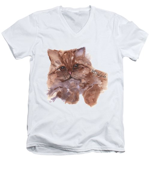 Persian Cat By Kmcelwaine Men's V-Neck T-Shirt by Kathleen McElwaine