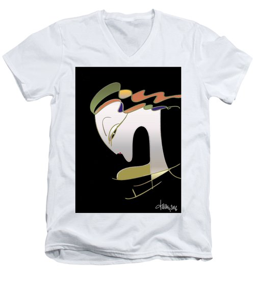 Men's V-Neck T-Shirt featuring the painting Malaise by Larry Talley