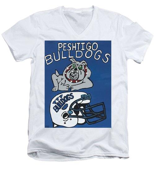 Peshtigo Bulldogs Men's V-Neck T-Shirt by Jonathon Hansen