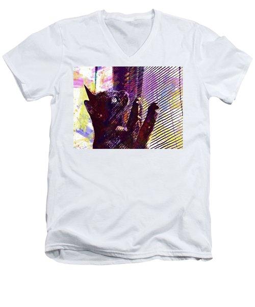 Men's V-Neck T-Shirt featuring the digital art Pet Cat Look Kitten  by PixBreak Art