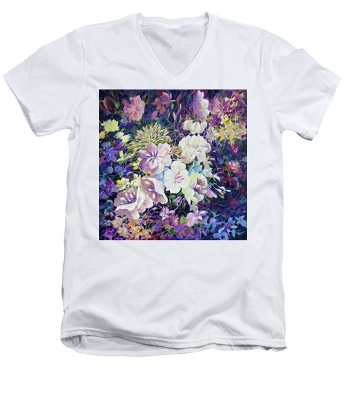 Men's V-Neck T-Shirt featuring the painting Petals by Joanne Smoley