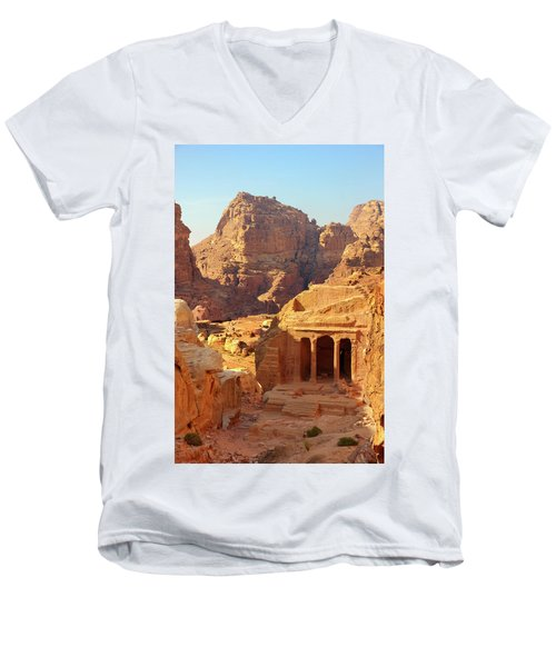 Men's V-Neck T-Shirt featuring the photograph Petra Buildings, Pond And Gardens Complex by Nicola Nobile