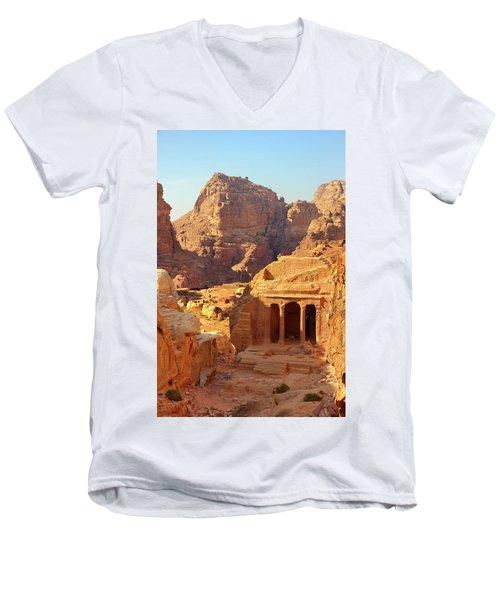 Petra Buildings, Pond And Gardens Complex Men's V-Neck T-Shirt