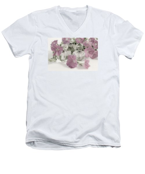 Petunias And Perfume - Soft Men's V-Neck T-Shirt by Sandra Foster