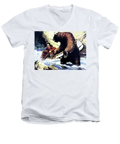 Men's V-Neck T-Shirt featuring the painting Pg- Dangerous Waters by JQ Licensing