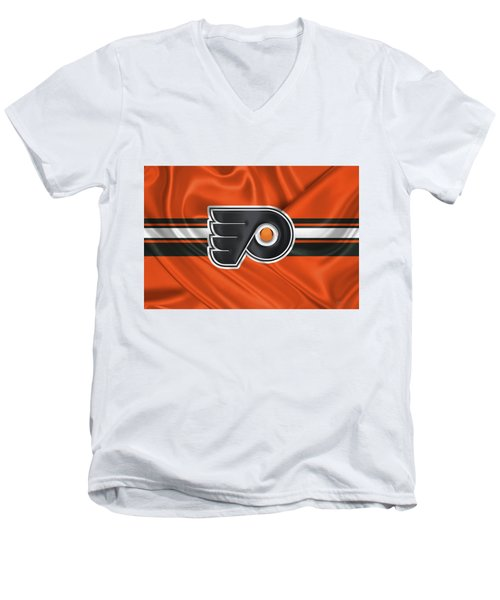 Philadelphia Flyers - 3 D Badge Over Silk Flag Men's V-Neck T-Shirt