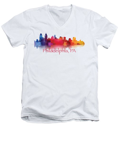philadelphia PA Skyline TShirts and Apparal Men's V-Neck T-Shirt