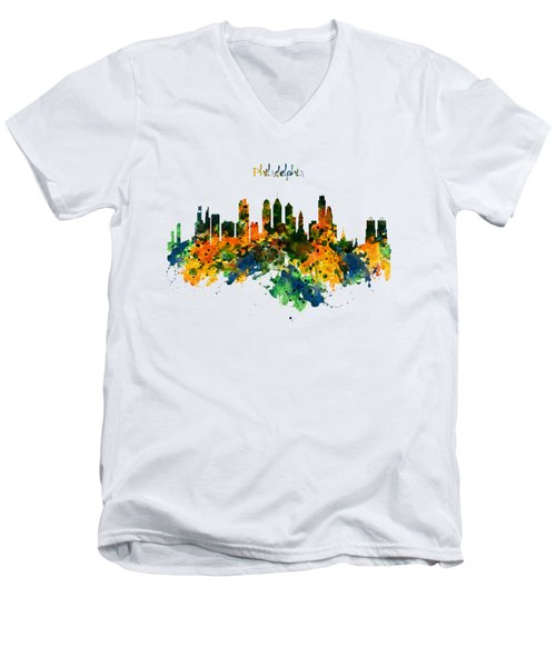 Philadelphia Watercolor Skyline Men's V-Neck T-Shirt