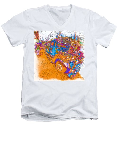 Philippine Girl Walking By A Jeepney Men's V-Neck T-Shirt