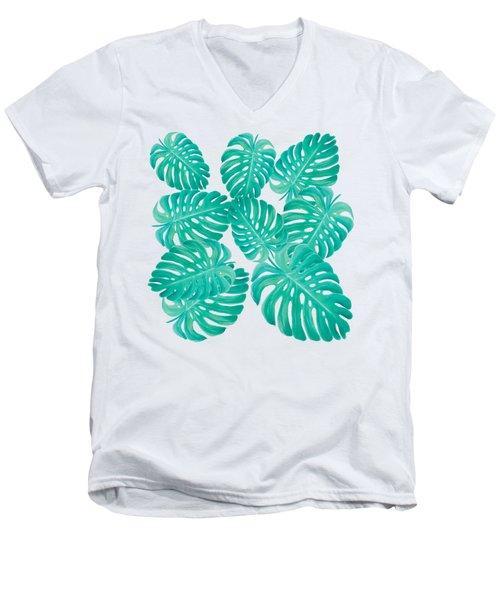 Philodendron Leaves Men's V-Neck T-Shirt by Jan Matson