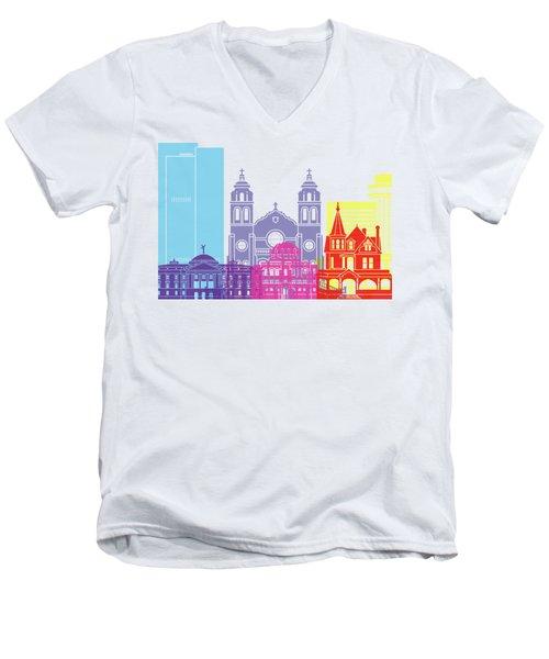 Phoenix Skyline Pop Men's V-Neck T-Shirt by Pablo Romero