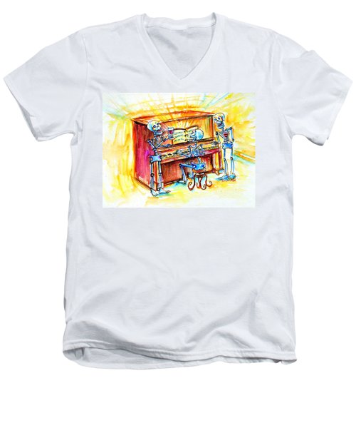 Men's V-Neck T-Shirt featuring the painting Piano Man by Heather Calderon