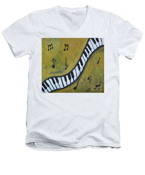 Piano Music Abstract Art By Saribelle Men's V-Neck T-Shirt by Saribelle Rodriguez
