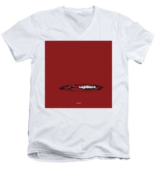 Men's V-Neck T-Shirt featuring the digital art Piccolo In Orange Red by Jazz DaBri