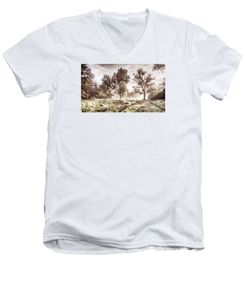 Pictorial Autumn Landscape Artistic Picture Men's V-Neck T-Shirt