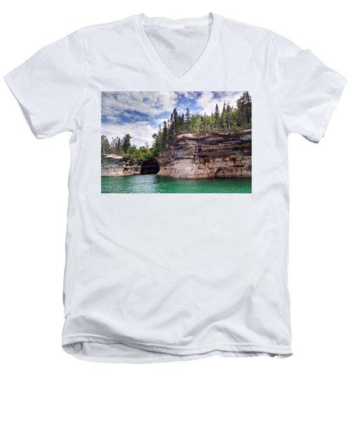 Pictured Rocks Men's V-Neck T-Shirt by Alan Casadei