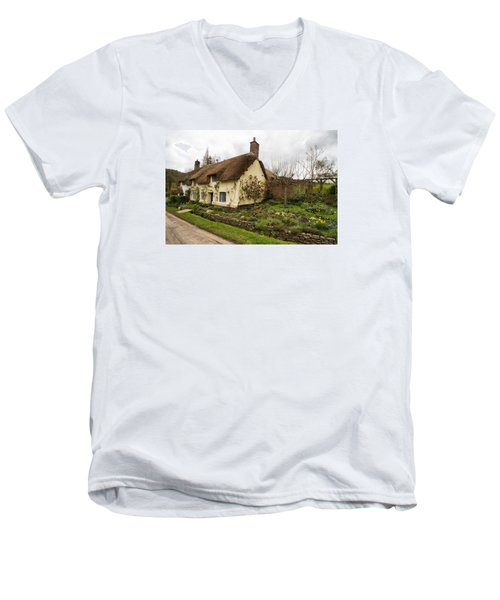 Men's V-Neck T-Shirt featuring the photograph Picturesque Dunster Cottage by Shirley Mitchell