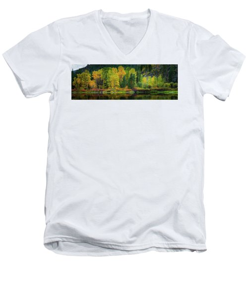 Men's V-Neck T-Shirt featuring the photograph Picturesque Tumwater Canyon by Dan Mihai