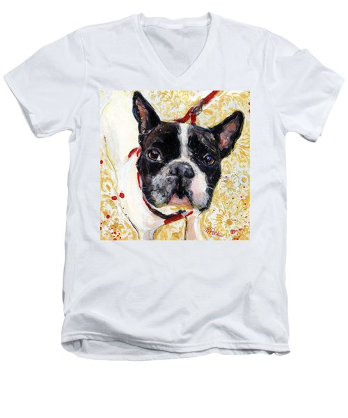 Men's V-Neck T-Shirt featuring the painting Pie And I by Molly Poole