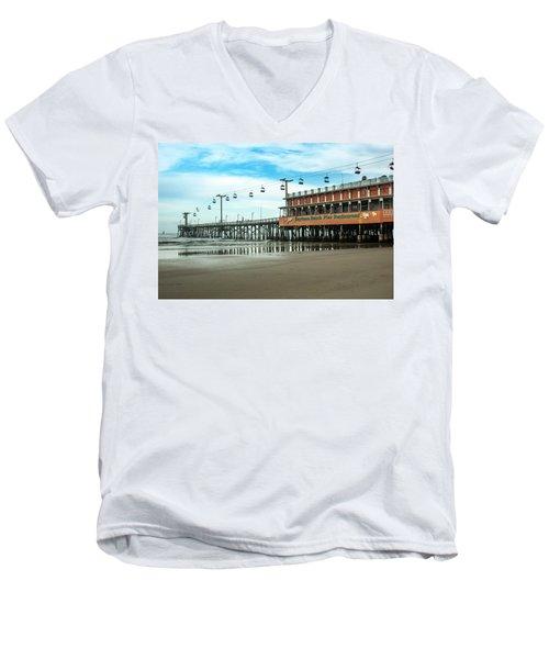 Men's V-Neck T-Shirt featuring the photograph Pier Daytona Beach by Carolyn Marshall