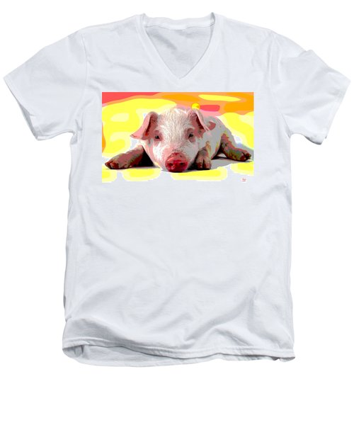 Men's V-Neck T-Shirt featuring the mixed media Pig In A Poke by Charles Shoup