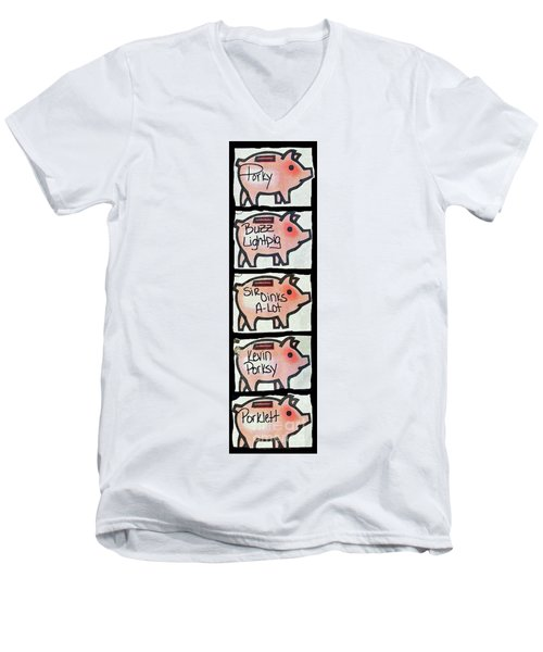 Men's V-Neck T-Shirt featuring the photograph Pig Party by Joe Jake Pratt