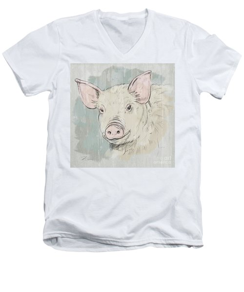 Pig Portrait-farm Animals Men's V-Neck T-Shirt