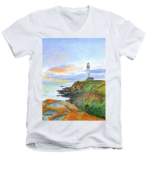 Pigeon Point Sunset Men's V-Neck T-Shirt by Mike Robles